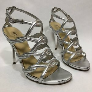 Guess silver Regent leather strappy heel size 5.5